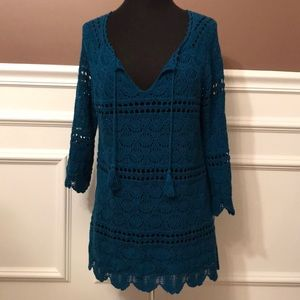 Lucky Brand Woven Teal Three Quarter Sleeve